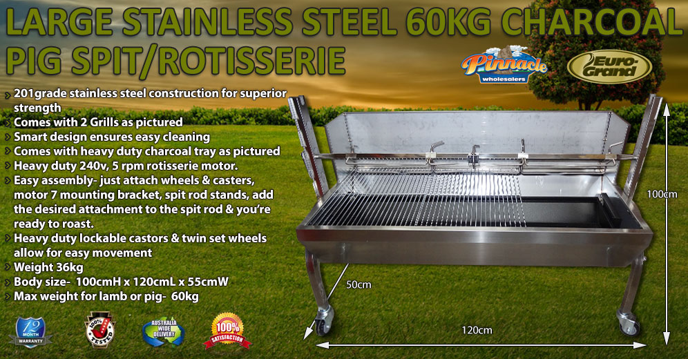 Large 60kg Bbq Stainless Steel Charcoal Pig Spit