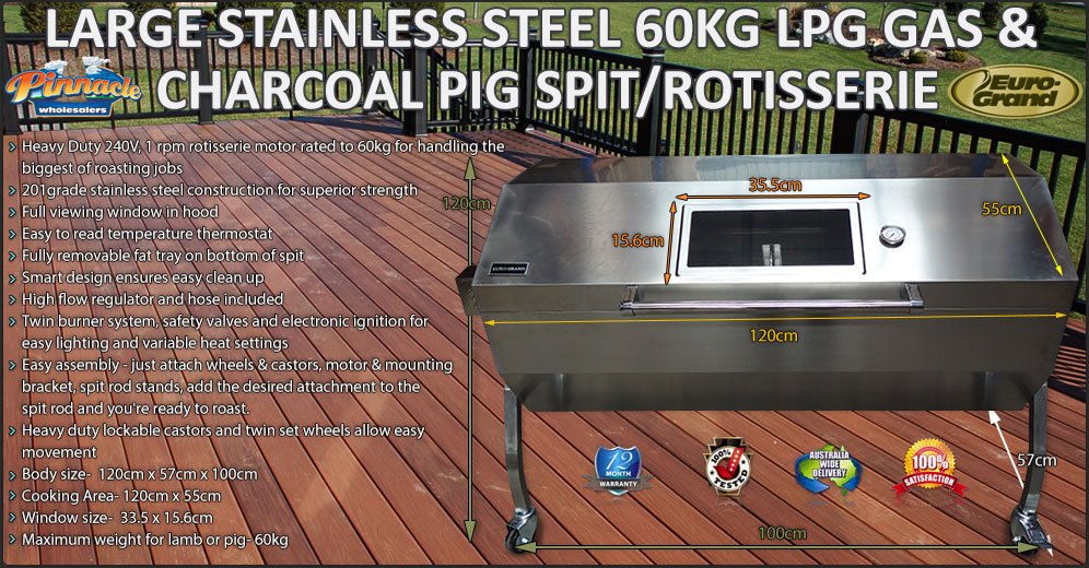 Large Stainless Steel 60kg Lpg Bbq Charcoal Pig Spit